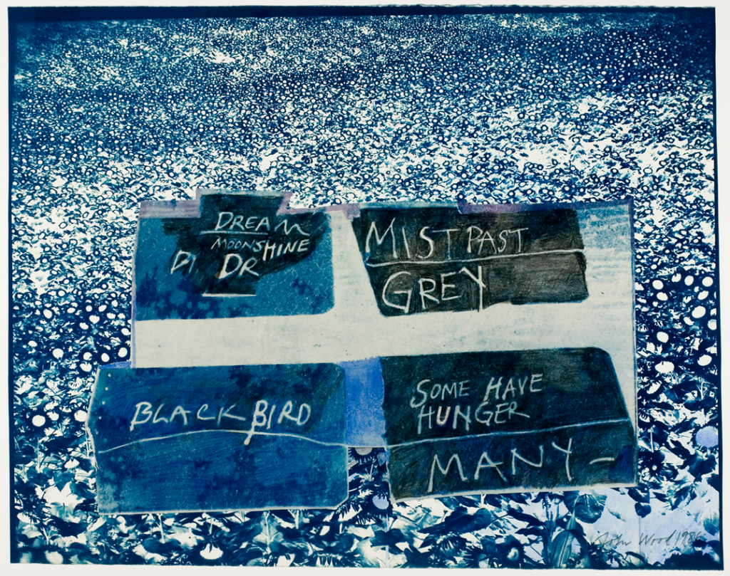 "Blackbirds Some Have Hunger, 1986 Collage, cyanotype, graphite, 20"" x 24"""