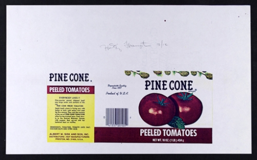 <strong>Hollis Frampton</strong>[Pine Cone brand peeled tomatoes] From the series By Any Other NameSeries 3,1983Color Xerograph,21.5 x 35.5 cmVisual Studies Workshop Collection, Gift of the artistAperture: 8Camera: NIKON D60Iso: 100Orientation: 1