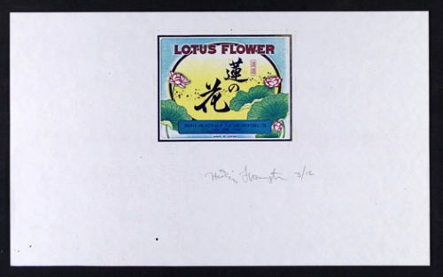<strong>Hollis Frampton</strong>[Lotus flower brand sake] From the series By Any Other NameSeries 3, 1983Color Xerograph,21.5 x 35.5 cmVisual Studies Workshop Collection, Gift of the artist2000:0111:0011Aperture: 8Camera: NIKON D60Iso: 100Orientation: 1