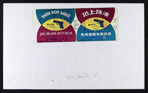 <strong>Hollis Frampton</strong>[Pistol brand soy sauce] From the series By Any Other NameSeries 3, 1983Color Xerograph,21.5 x 35.5 cmVisual Studies Workshop Collection, Gift of the artist2000:0111:0012Aperture: 8Camera: NIKON D60Iso: 100Orientation: 1