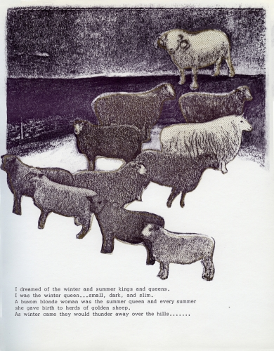 <strong>Bea Nettles</strong> Dream Pages [page 18] Printed at Visual Studies Workshop, Rochester, 1975 Offset lithograph and screen, 23.5 x 18.5 x .25 cm Edition of 100 Visual Studies Workshop Collection, Independent Press Archive Z232.5 .N475 Ne-Dr
