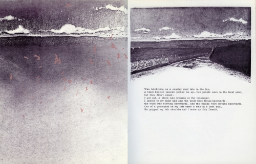 <strong>Bea Nettles</strong> Dream Pages[pages 15-16] Printed at Visual Studies Workshop, Rochester, 1975 Offset lithograph and screen print, 23.5 x 18.5 x .25 cm Edition of 100 Visual Studies Workshop Collection, Independent Press Archive Z232.5 .N475 Ne-Dr