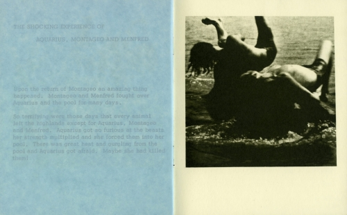 <strong>Bea Nettles</strong> The Nymph of the Highlands[page 15-16] Printed at Visual Studies Workshop,Rochester, 1974 Offset lithograph and blue tissue paper,14 x 11 x .25 cm Edition of 200,Visual Studies Workshop Collection, Independent Press Archive Z232.5 .V834 Ne-Ny