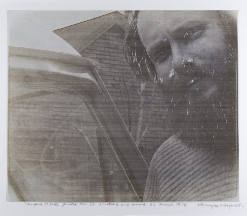 <strong>Keith Smith</strong>Untitled Printed in 1972, scratched in 1973, and sewed in 1974Thermofax monoprint,17.70 x 21.00 cmVisual Studies Workshop Collection, Gift ofthe artist1974:0051:0001