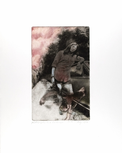 <strong>Keith Smith</strong>Photographer in a Landscape,1976Photo etching,20.00 x 12.50 cm (image)Visual Studies Workshop Collection, Gift ofthe artist1977:0070:0012