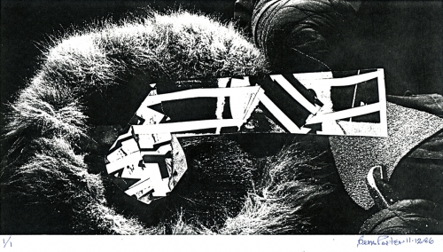 """<strong>Bern Porter</strong>[untitled], 1986Photocopied collageFrom the Record of Production portfolio, numbered """"1/1"""" signed and dated, 15 x 25.7 cmVisual Studies Workshop Collection,Independent Press ArchiveZ232.5.P844Po-Re.23"""