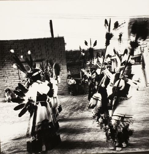 <strong>John Wood</strong>San Juan Pueblo, Dance, New Mexico,ca. 1965Gelatin silver print,19.5 x 18.5 cm diameterVisual Studies Workshop Collection,Gift of the artist1975:0012:0001