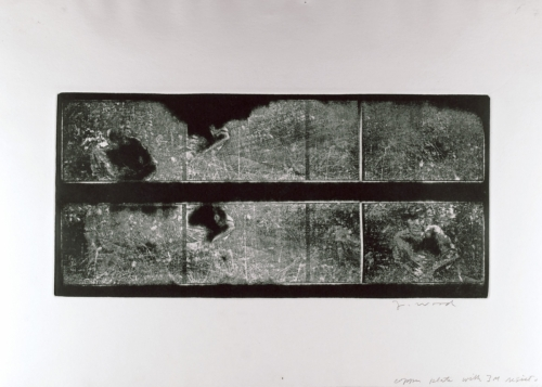 <strong>John Wood</strong>Untitled [Nathan Lyons from left to right and rightto left],ca. 1974Etching, 35.5 x 49.5 cm diameterVisual Studies Workshop Collection,Gift of the artist1975:0012:0021